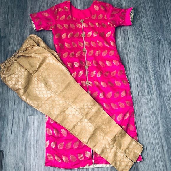 Pakistani hot pink and gold salwar pant kameez